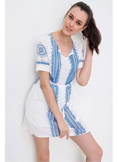 Pink Park Etnik Nakış Baskılı Dokuma Elbise RR00002 Beyaz